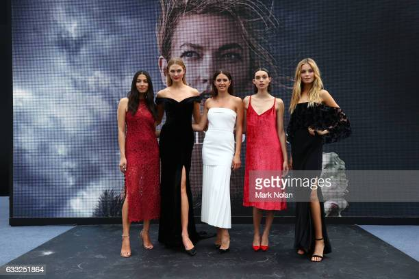 David Jones Ambassadors Jessica Gomes Karlie Kloss Jesinta Franklin Charlee Fraser and Bridget Malcolm pose following rehearsal ahead of the David...