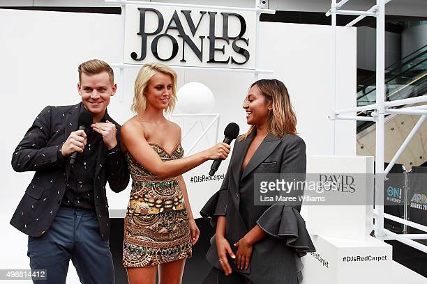 David Jones hosts Joel Creasey and Olivia Phyland speak with Jessica Mauboy ahead of the ARIA Awards 2015 at The Star on November 26 2015 in Sydney...