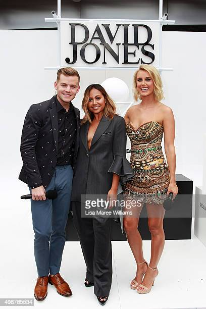 David Jones Hosts Joel Creasey Olivia Phyland pose with Jessica Mauboy ahead of the ARIA Awards 2015 at The Star on November 26 2015 in Sydney...