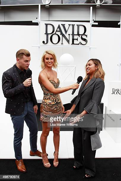 David Jones hosts Joel Creasey Olivia Phyland speak with Jessica Mauboy ahead of the ARIA Awards 2015 at The Star on November 26 2015 in Sydney...