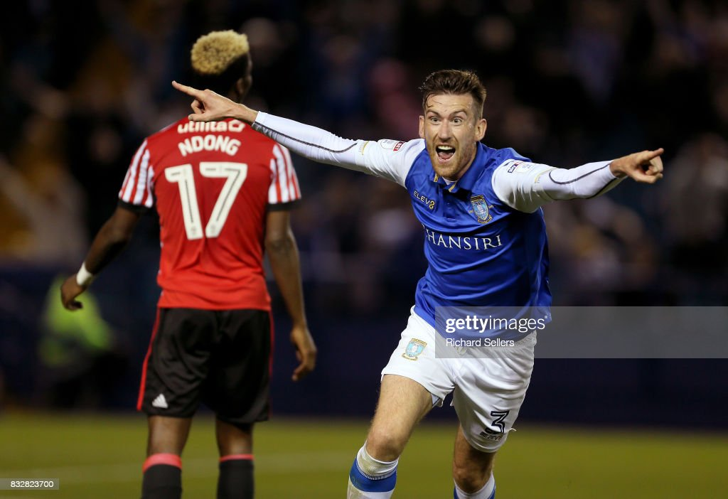 David Jones of Sheffield Wednesday celebrates during the Sky Bet Championship match between Sheffield Wednesday and Sunderland at Hillsborough on August 16, 2017 in Sheffield, England.