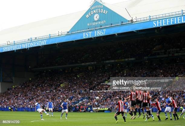 David Jones of Sheffield Wednesday takes a free kick during the Sky Bet Championship match between Sheffield Wednesday and Sheffield United at...