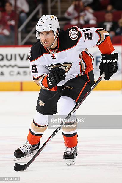 David Jones of the Anaheim Ducks in action during the preseason NHL game against Arizona Coyotes at Gila River Arena on October 1 2016 in Glendale...