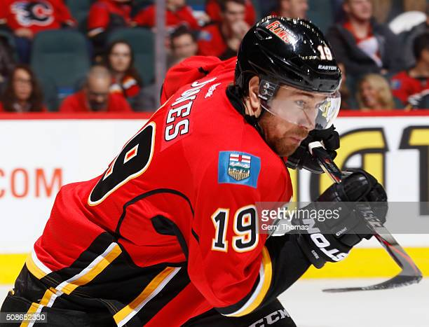 David Jones of the Calgary Flames skates against the Columbus Blue Jackets at Scotiabank Saddledome on February 5 2016 in Calgary Alberta Canada