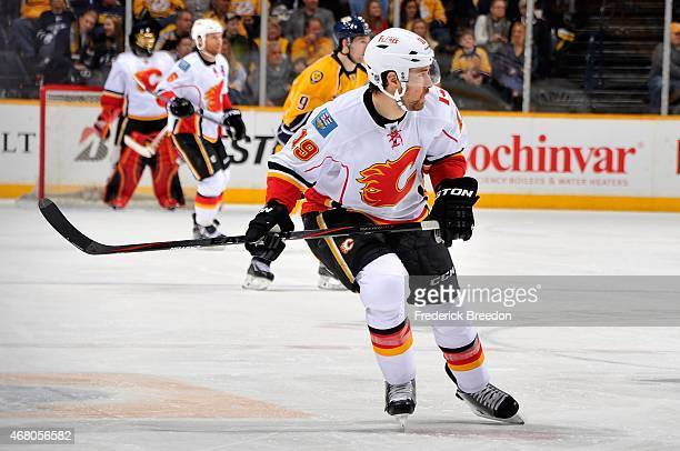 David Jones of the Calgary Flames skates against the Nashville Predators during the second period at Bridgestone Arena on March 29 2015 in Nashville...