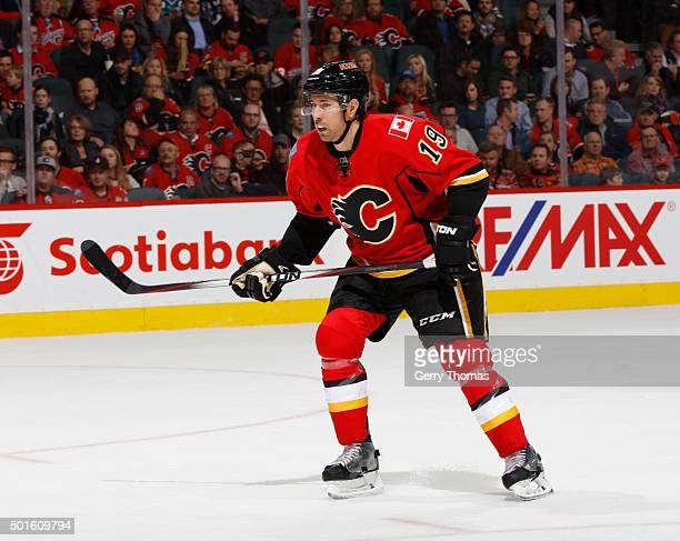 David Jones of the Calgary Flames skates against the San Jose Sharks at Scotiabank Saddledome on December 8 2015 in Calgary Alberta Canada