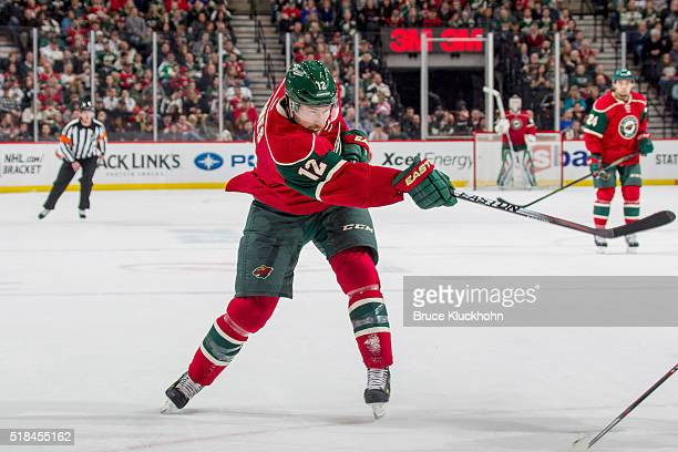 David Jones of the Minnesota Wild shoots the puck against the Calgary Flames during the game on March 24 2016 at the Xcel Energy Center in St Paul...