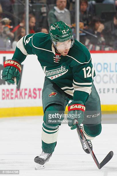 David Jones of the Minnesota Wild skates against the St Louis Blues during the game on March 6 2016 at Xcel Energy Center in St Paul Minnesota