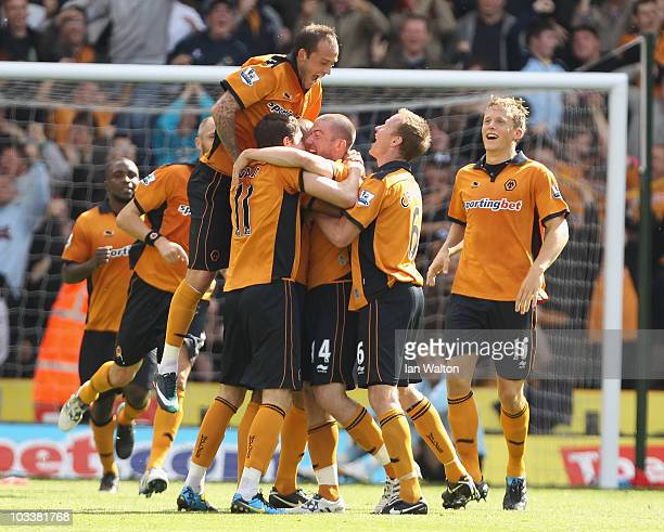 David Jones of Wolverhampton Wanderers celebrates after scoring the first goal during the Barclays Premier League match between Wolverhampton...