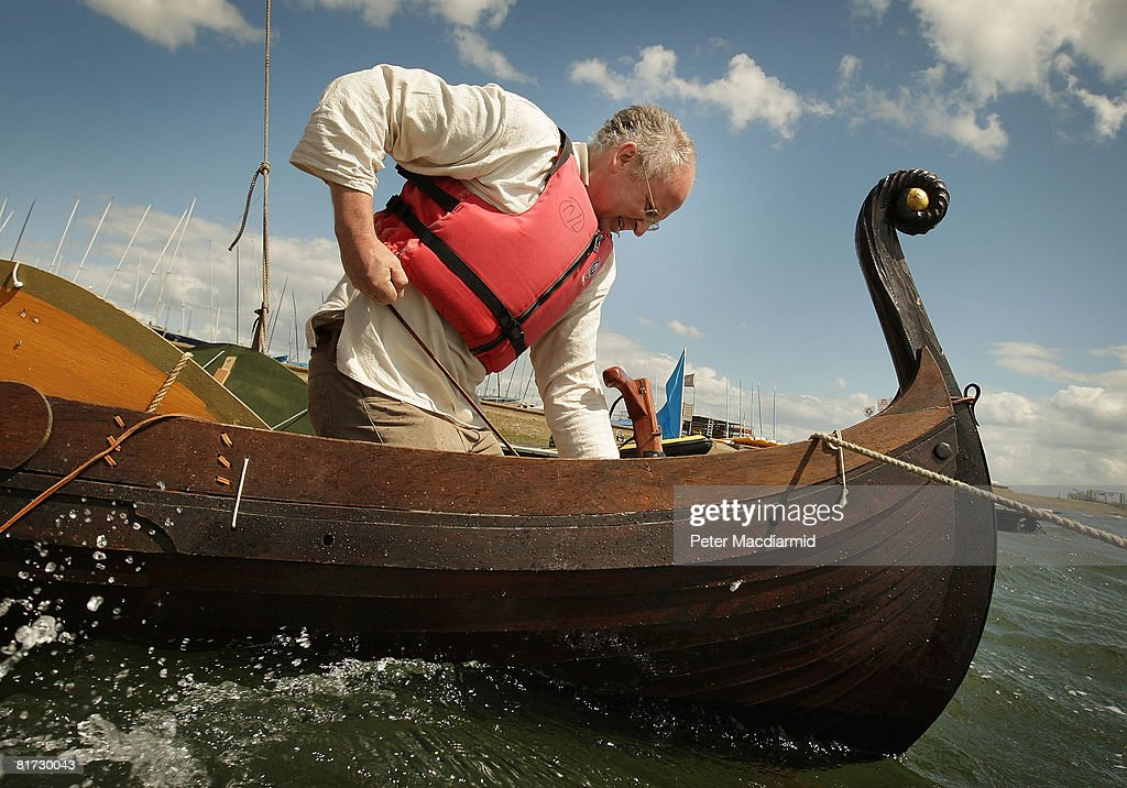 David Jones prepares his replica Norman invasion boat the 'Lille Draken' for launch on Queen Mary's reservoir on June 25, 2008 in London, England. Furniture maker David Jones' reproduction of a 1066 invasion boat has been a three year personal project. Mr Jones hopes to prove that the Bayeux tapestry's detailed embriodery representations of William the Conqueror's invasion ships is correct in it's depiction of a spinnaker type sail.