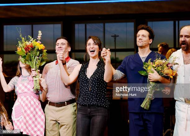 David Josefsberg Sara Bareilles and Jason Mraz take a bow at the curtain call of Broadway's 'Waitress' at The Brooks Atkinson Theatre on November 3...