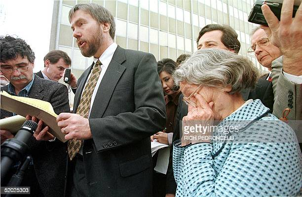 David Kaczynski speaks to the media as his mother Wanda wipes away tears after Kaczynski's brother Theodore admitted he was the Unabomber pleading...