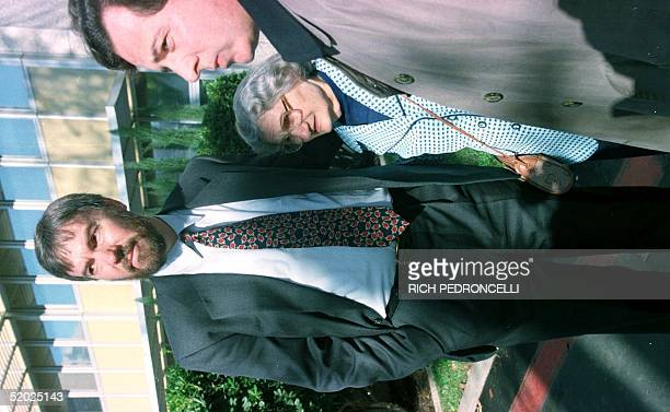 David Kaczynski the brother of Unabomber suspect Ted Kaczynski his mother Wanda and their attorney Anthony Bisceglie stand together after opening...
