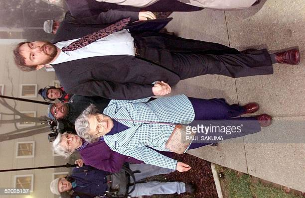 David Kaczynski the brother of Unabomber suspect Theodore Kaczynski holds hands with his mother Wanda as they arrive at the Federal Courthouse in...