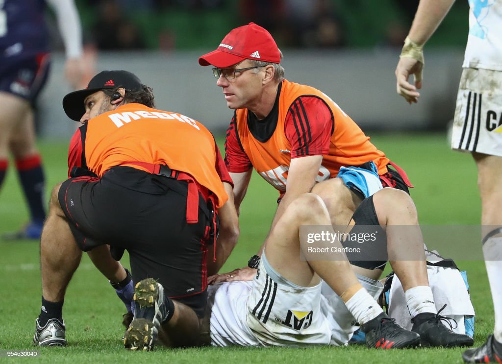 David Kaetau Havili of the Crusaders reacts after a collision with Jack Maddocks of the Rebels during the round 12 Super Rugby match between the Rebels and the Crusaders at AAMI Park on May 4, 2018 in Melbourne, Australia.