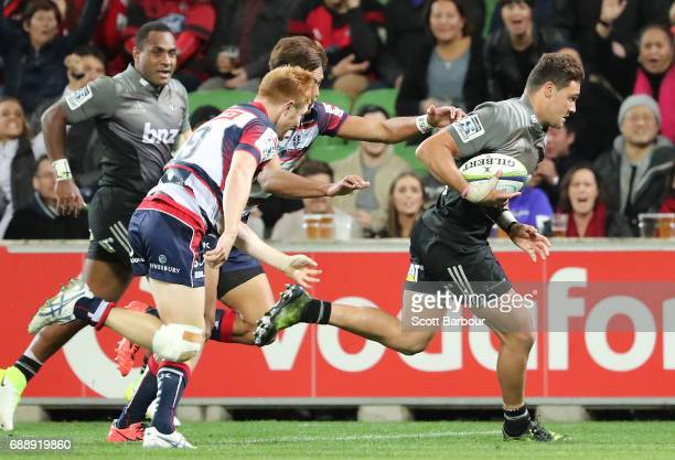 David Kaetau Havili of the Crusaders scores a try during the round 14 Super Rugby match between the Rebels and the Crusaders at AAMI Park on May 27...