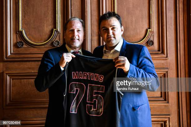David Kahn CEO of Paris Basketball Investments and Jean Francois Martins deputy mayor of Paris in charge of sport during the press conference of...