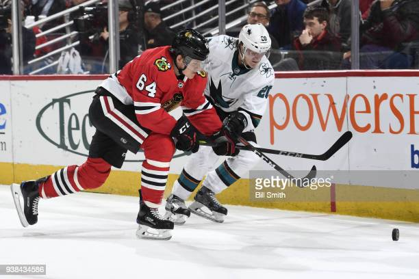 David Kampf of the Chicago Blackhawks and Marcus Sorensen of the San Jose Sharks chase the puck in the second period at the United Center on March 26...