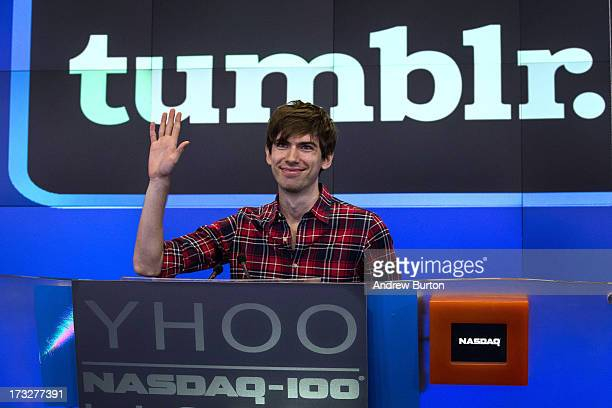 David Karp founder of the microblogging site Tumblr opens the NASCAQ Exchange on July 11 2013 in New York City Tumblr was bought by Yahoo for $1...
