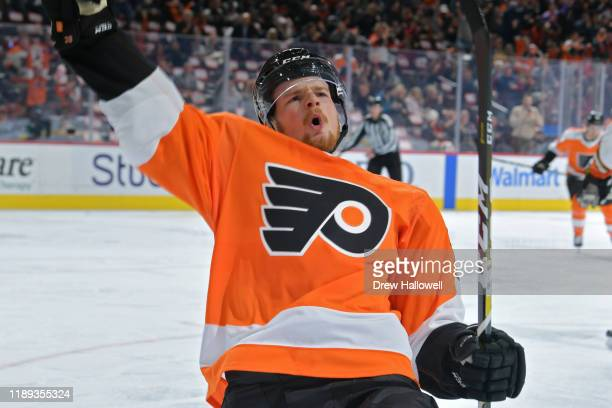 David Kase of the Philadelphia Flyers celebrates his first NHL goal during the game against the Anaheim Ducks in the second period at Wells Fargo...