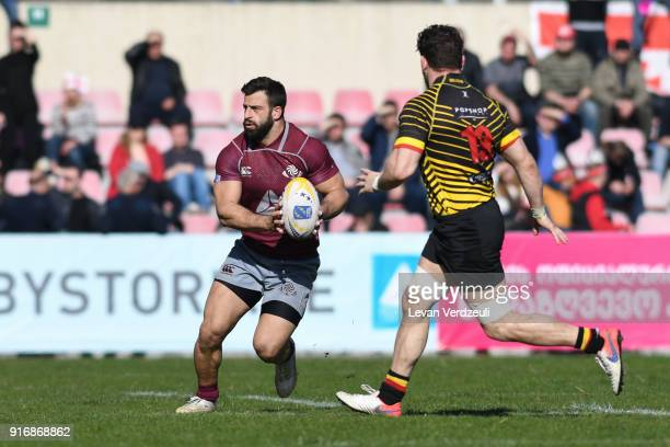 David Katcharava of Georgia during the Rugby Europe Championship round 1 match between Georgia and Belgium at Aia Arena on February 10 2018 in...