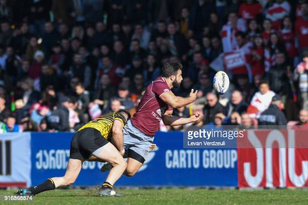 David Katcharava of Georgia offloads during the Rugby Europe Championship round 1 match between Georgia and Belgium at Aia Arena on February 10 2018...