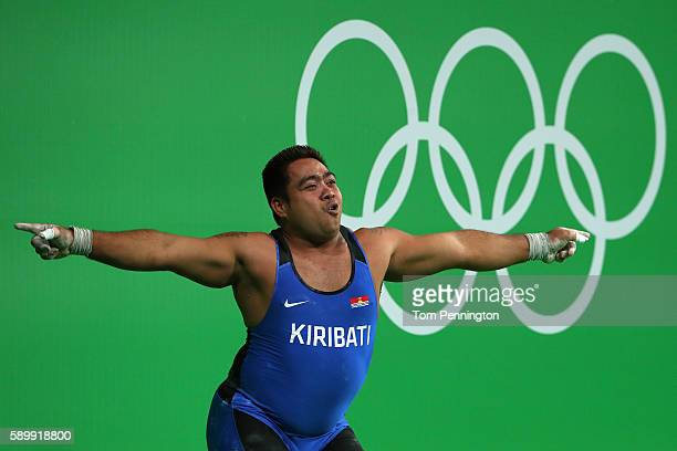 David Katoatau of Kiribati reacts during the Men's 105kg Group B Weightlifting event on Day 10 of the Rio 2016 Olympic Games at Riocentro Pavilion 2...