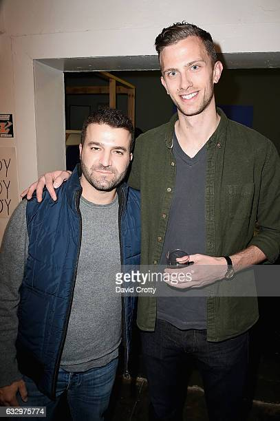 David Katzenberg and Jason Vahn attend the Austyn Weiner Exhibition Opening at The Lodge on January 28 2017 in Los Angeles California