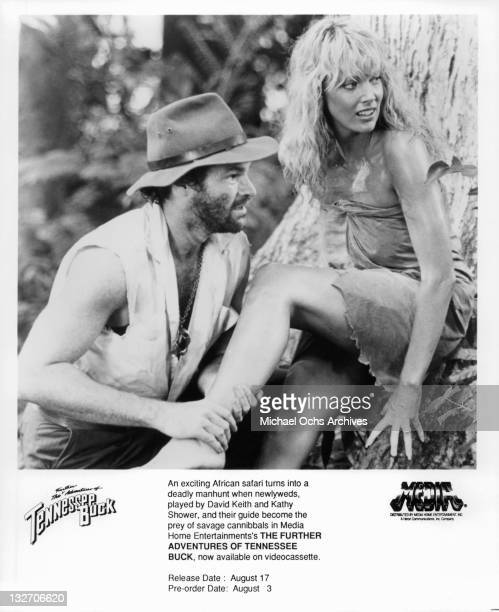 David Keith and Kathy Shower in a scene from the film 'The Further Adventures of Tennessee Buck' 1988