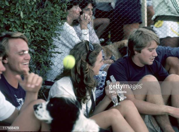 David Kennedy and Courtney Kennedy during RFK ProCelebrity Tennis Tounament August 1981 at Kennedy Compound in New York City New York United States