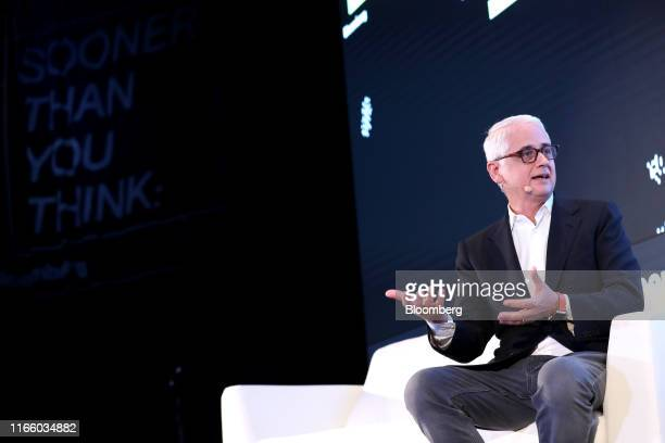 David Kenny chief executive officer of Nielsen Holdings Plc speaks during the Bloomberg Sooner Than You Think technology event in Singapore on...