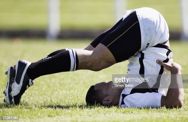 David Kidwell of the Kiwis stretches during the New Zealand Kiwis training session at Rugby League Park on October 26 2006 in Christchurch New...