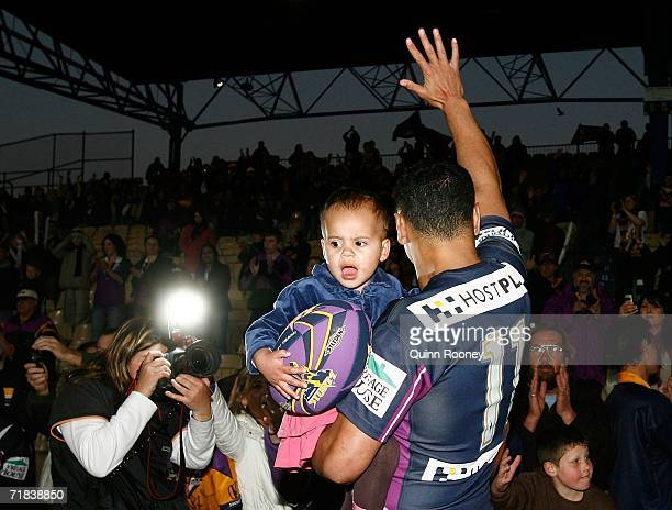 David Kidwell of the Storm waves to the crowd after the NRL Fourth Qualifying Final between the Melbourne Storm and the Parramatta Eels at Olympic...