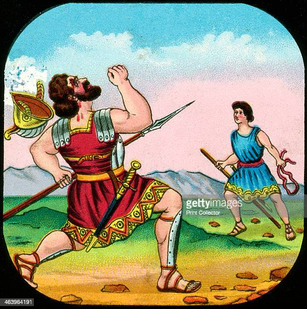 David Killing Goliath David killing the Philistine giant with a stone from his sling According to the Bible Goliath was 6 cubits tall From the Bible