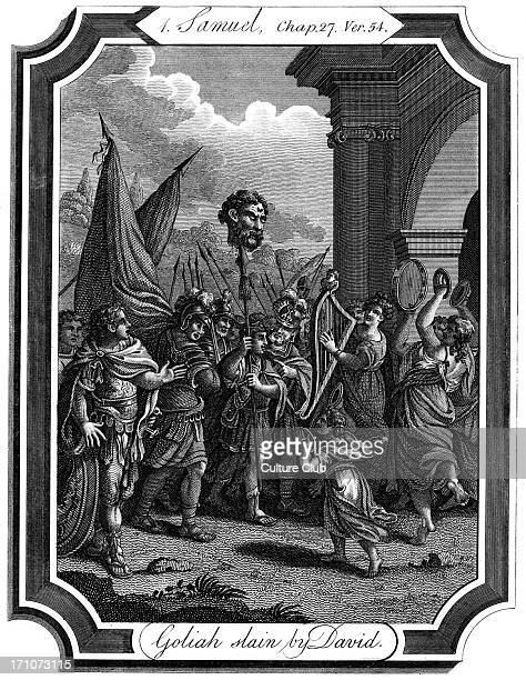 David kills Goliath raising his head on a spikein front of Saul's army Samuel 1 Chap XVII verse 54 'And David took the head of the Philistine and...