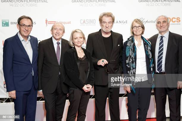 David Kimelfeld Gerard Collomb Caroline Collomb Eddy Mitchell Francoise Nyssen Georges Kepenekian attend opening ceremony of 9th Film Festival...