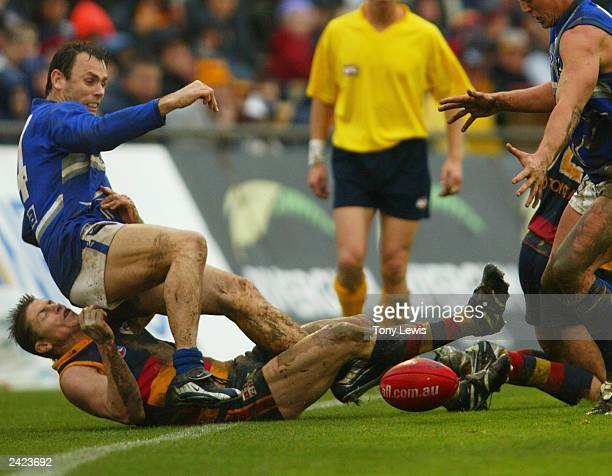 David King for the Kangaroos and Mark Bickley for Adelaide tumble over the boundary during the round 21 AFL match between the Adelaide Crows and the...