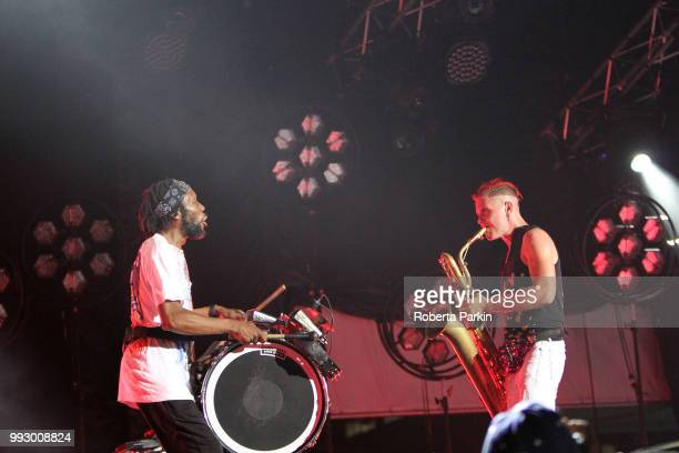 David 'King of Sludge' Parks and Leo Pellegrino of Too Many Zooz perform during the 2018 Festival International de Jazz de Montreal at Quartier des...
