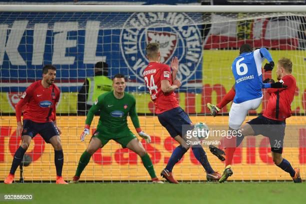 David Kinsombi of Kiel scores his team's second goal during the Second Bundesliga match between Holstein Kiel and 1 FC Heidenheim 1846 at...
