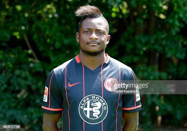 David Kinsombi poses during the Eintracht Frankfurt team presentation on July 15 2015 in Frankfurt am Main Germany