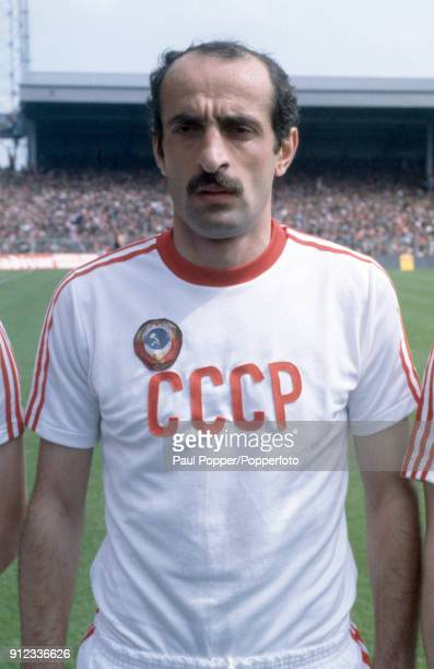 David Kipiani lines up for the Soviet Union before the FIFA World Cup Qualifying match between Wales and USSR at the Racecourse Ground in Wrexham...