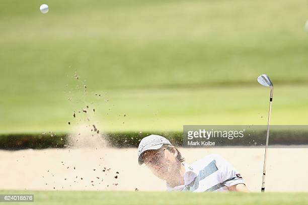 David Klein of Germany plays out of a bunker on the 15th during day two of the Australian golf Open at Royal Sydney GC at Royal Sydney Golf Club on...