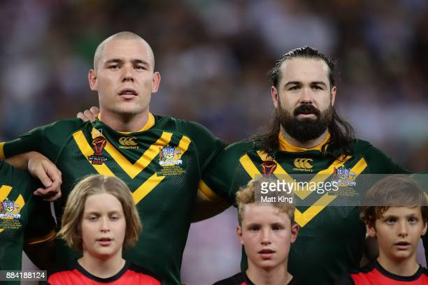 David Klemmer and Aaron Woods of the Kangaroos sing the national anthem before the 2017 Rugby League World Cup Final between the Australian Kangaroos...