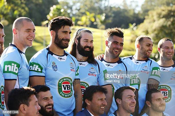 David Klemmer James Tamou Aaron Woods Andrew Fifita Blake Ferguson and Boyd Cordner of the Blues pose during a New South Wales Blues NRL State of...