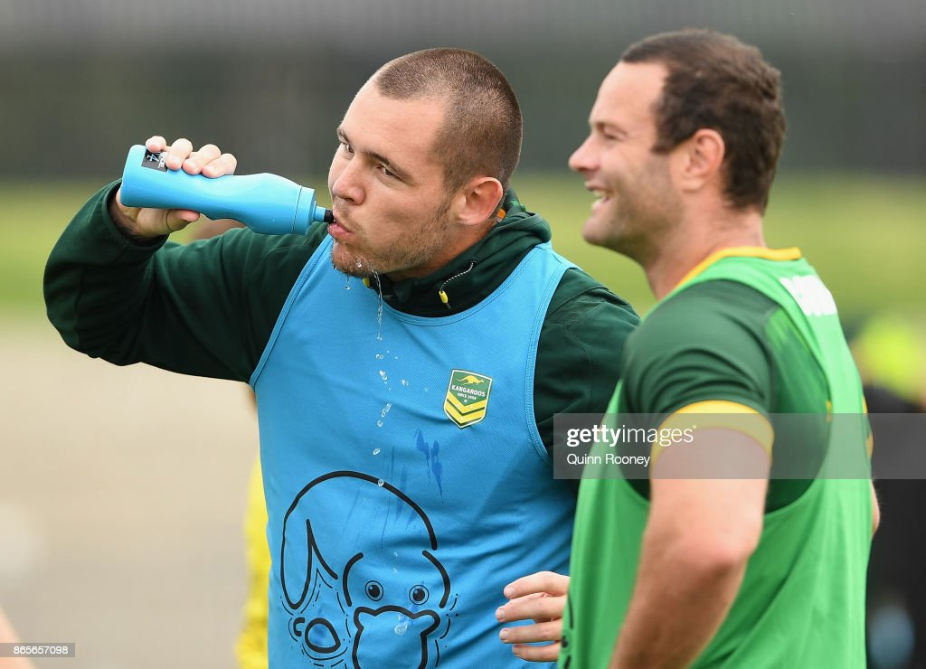 David Klemmer of Australia has a drink during an Australian Kangaroos training session at Lakeside Stadium on October 24, 2017 in Melbourne, Australia.