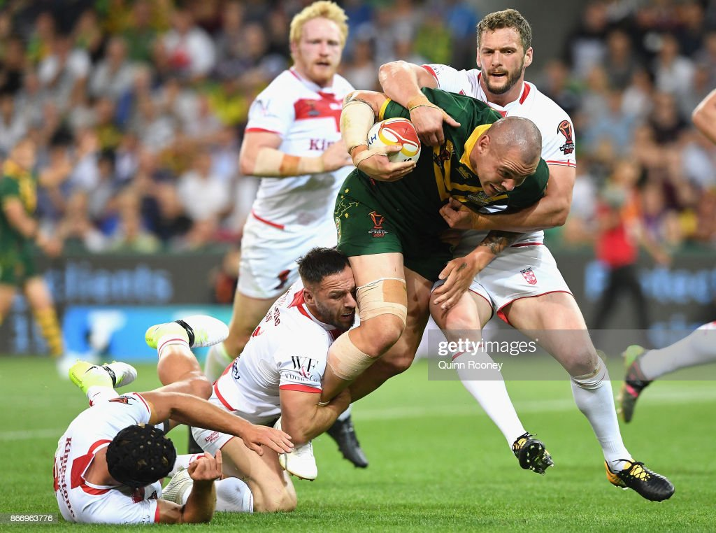 David Klemmer of Australia is tackled during the 2017 Rugby League World Cup match between the Australian Kangaroos and England at AAMI Park on October 27, 2017 in Melbourne, Australia.