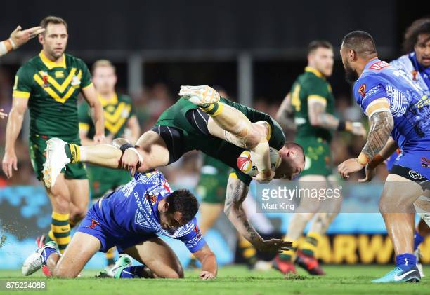 David Klemmer of Australia is tackled during the 2017 Rugby League World Cup Quarter Final match between Australia and Samoa at Darwin Stadium on...