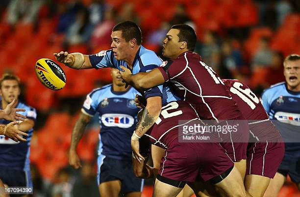 David Klemmer of New South Wales offloads during the U20s State of Origin match between New South Wales and Queensland at Centrebet Stadium on April...