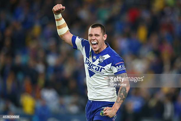 David Klemmer of the Bulldogs celebrates victory during the round 23 NRL match between the Parramatta Eels and the Canterbury Bulldogs at ANZ Stadium...