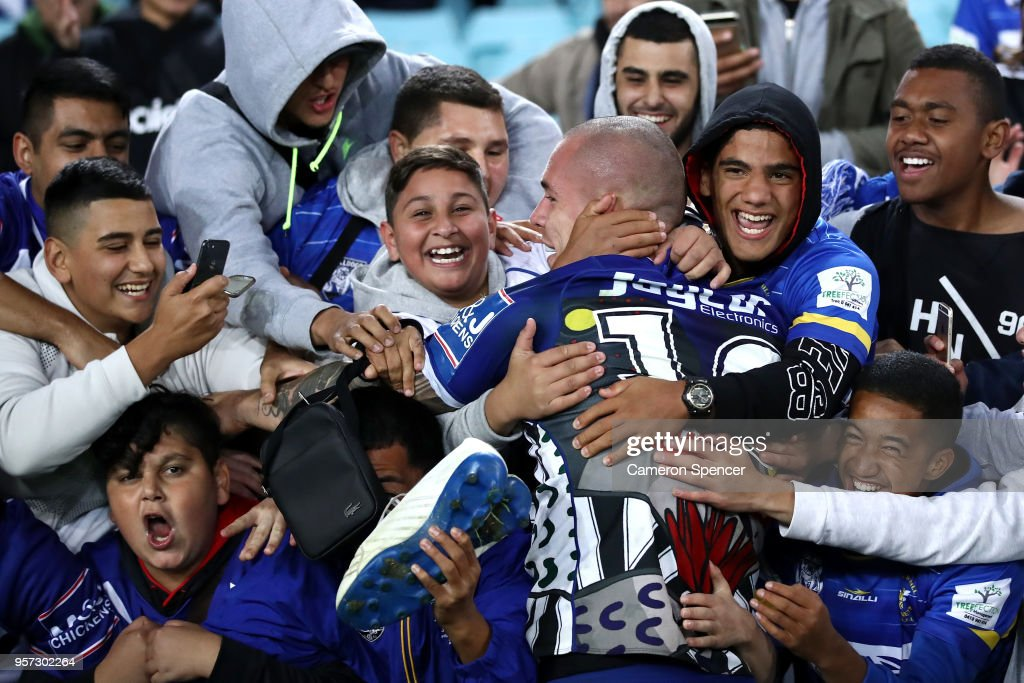 David Klemmer of the Bulldogs celebrates with fans after winning the round 10 NRL match between the Canterbury Bulldogs and the Parramatta Eels at ANZ Stadium on May 11, 2018 in Sydney, Australia.